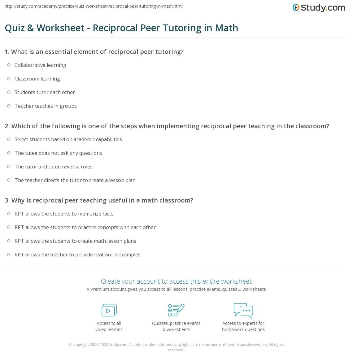 Quiz & Worksheet - Reciprocal Peer Tutoring in Math | Study.com