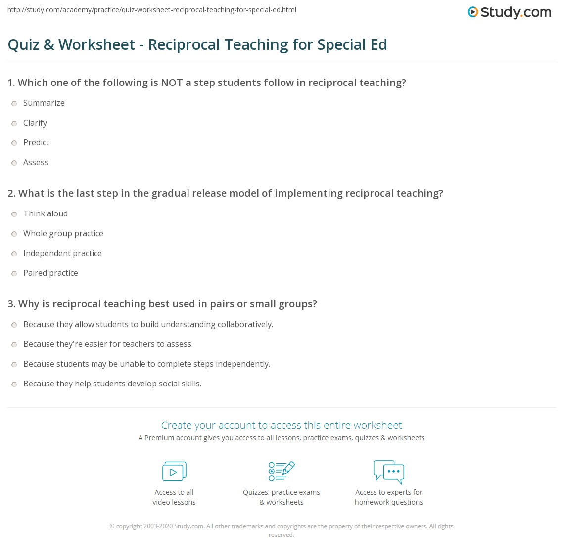 Quiz Worksheet Reciprocal Teaching For Special Ed Study Com [ 1280 x 1140 Pixel ]