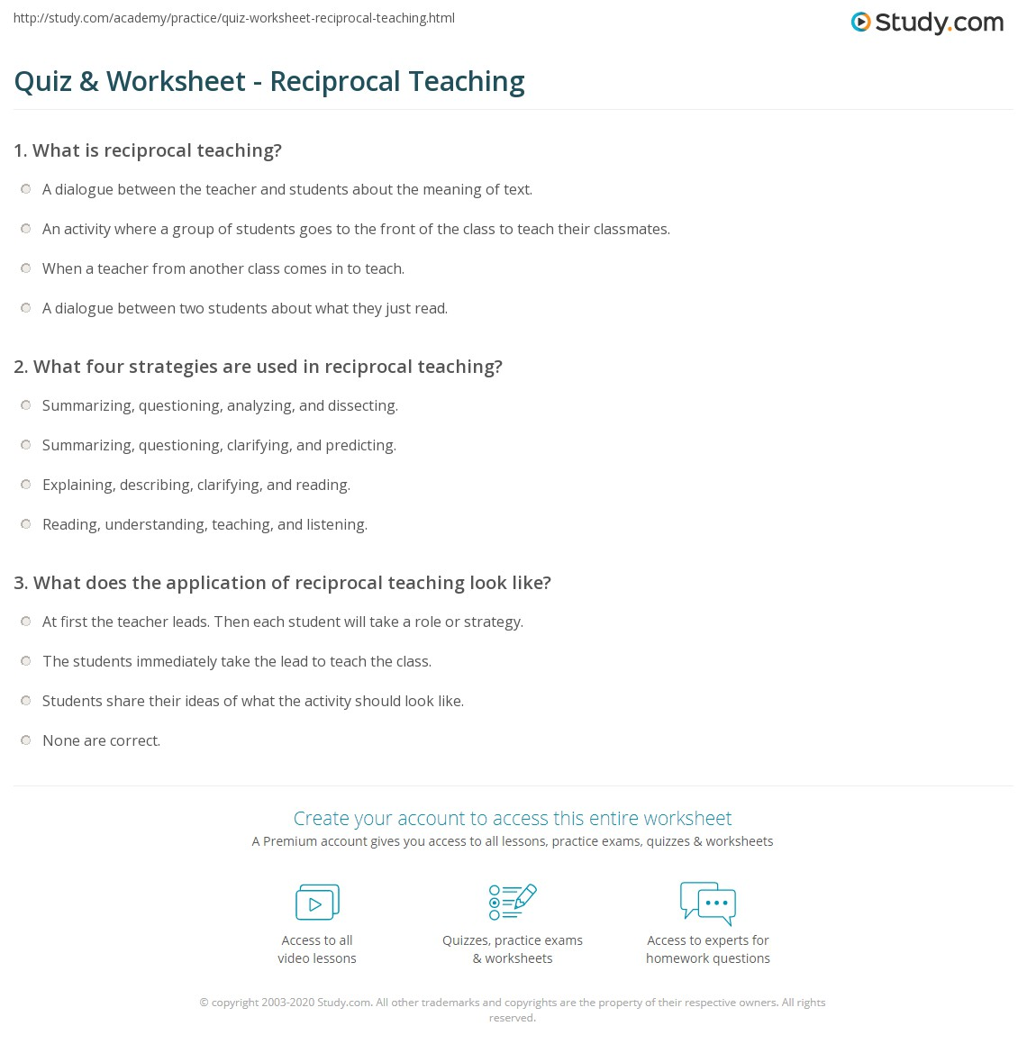Quiz Worksheet Reciprocal Teaching Study