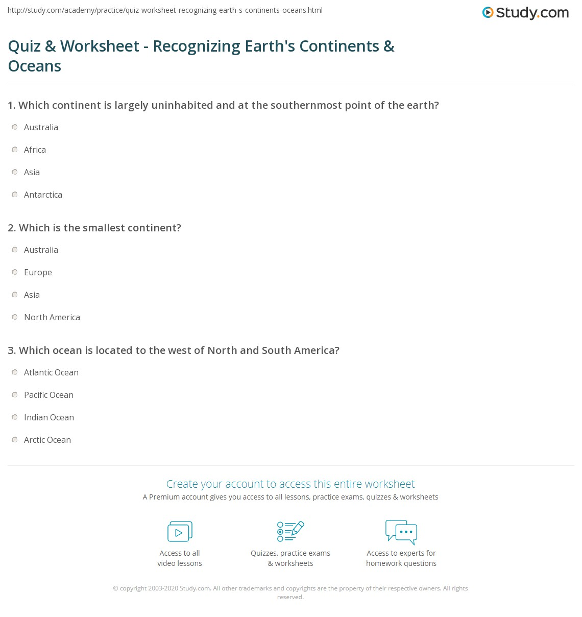 picture relating to Continents and Oceans Quiz Printable called Quiz Worksheet - Understanding Earths Continents Oceans