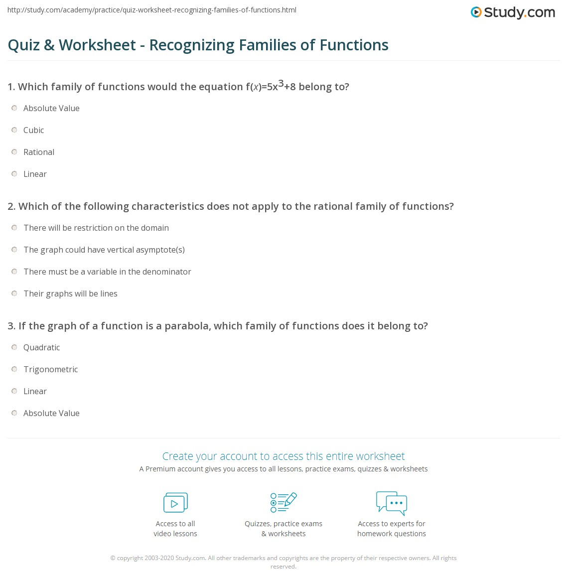 worksheet Function Or Not Worksheet quiz worksheet recognizing families of functions study com print how to identify worksheet