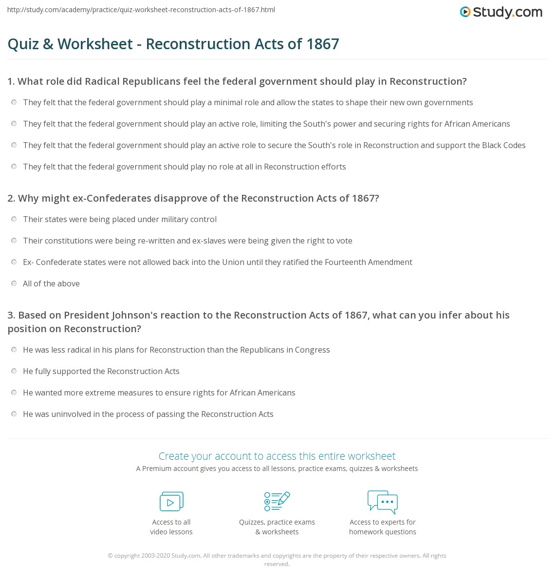 {Quiz Worksheet Reconstruction Acts of 1867 – Reconstruction Worksheets