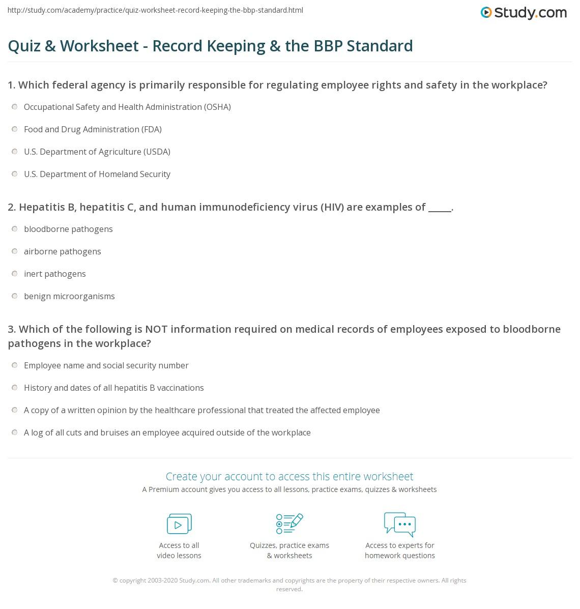 Quiz Worksheet Record Keeping The Bbp Standard Study