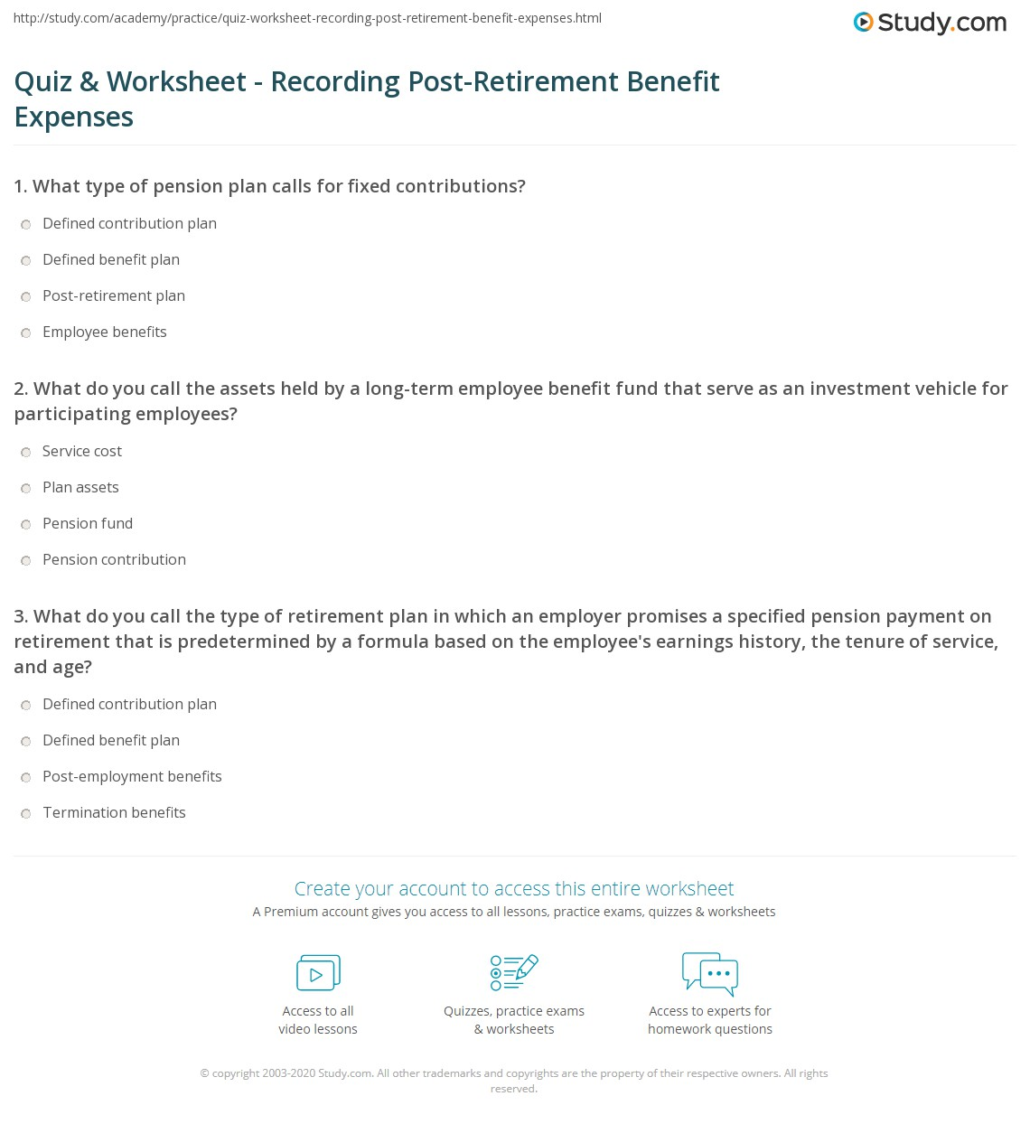 quiz & worksheet - recording post-retirement benefit expenses