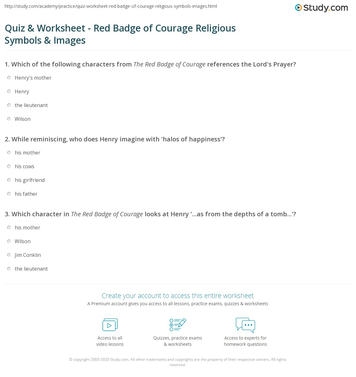 Quiz worksheet red badge of courage religious symbols images print the red badge of courage religious symbolism imagery worksheet buycottarizona