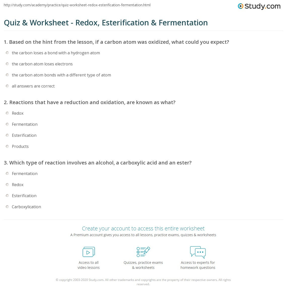 Worksheets Chapter 20 Worksheet Redox quiz worksheet redox esterification fermentation study com print organic chemical reactions worksheet