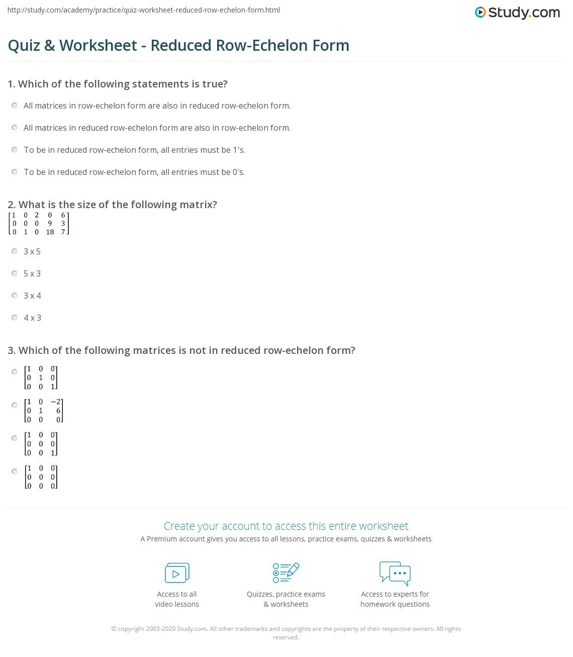 worksheet Matrices Worksheets quiz worksheet reduced row echelon form study com print definition examples worksheet