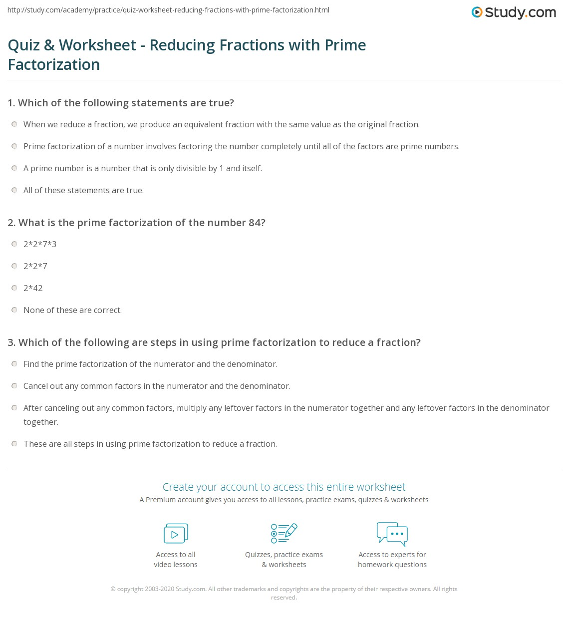 Quiz & Worksheet - Reducing Fractions with Prime Factorization ...
