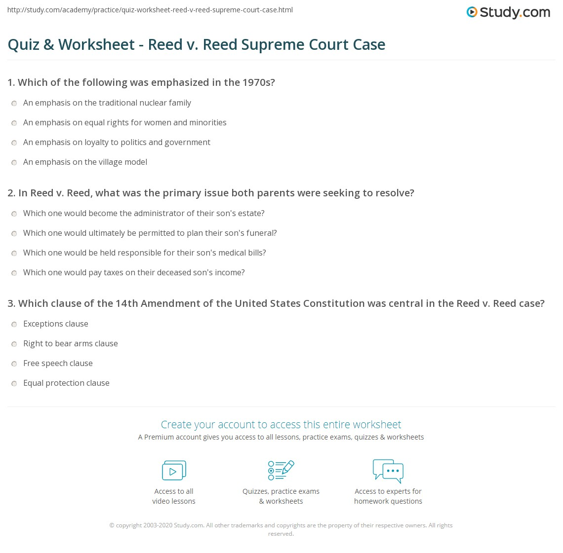 quiz worksheet reed v reed supreme court case. Black Bedroom Furniture Sets. Home Design Ideas