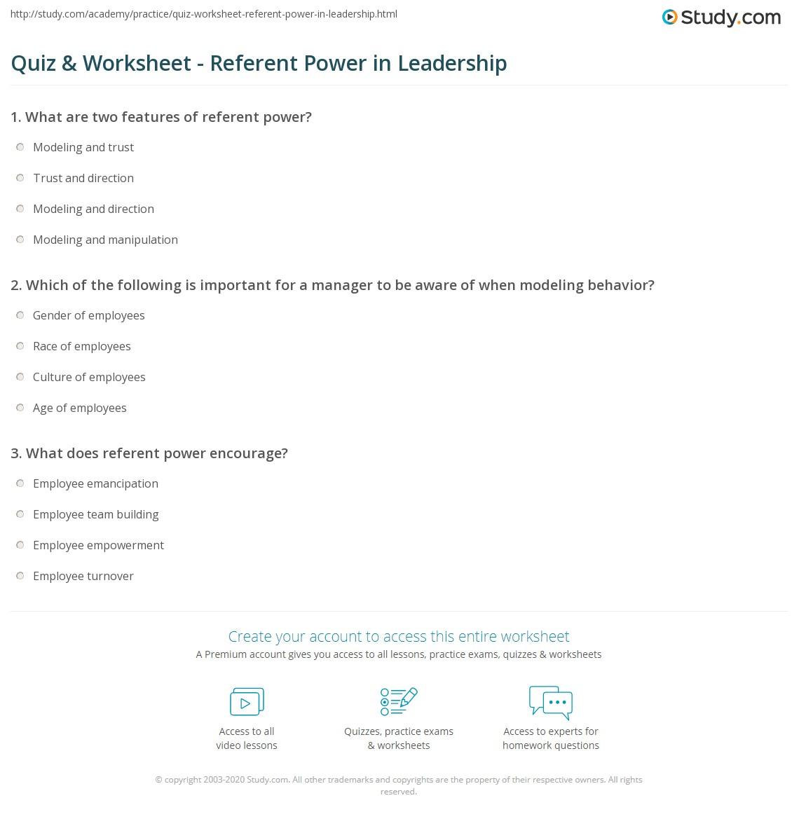 quiz worksheet referent power in leadership com print referent power in leadership definition examples worksheet