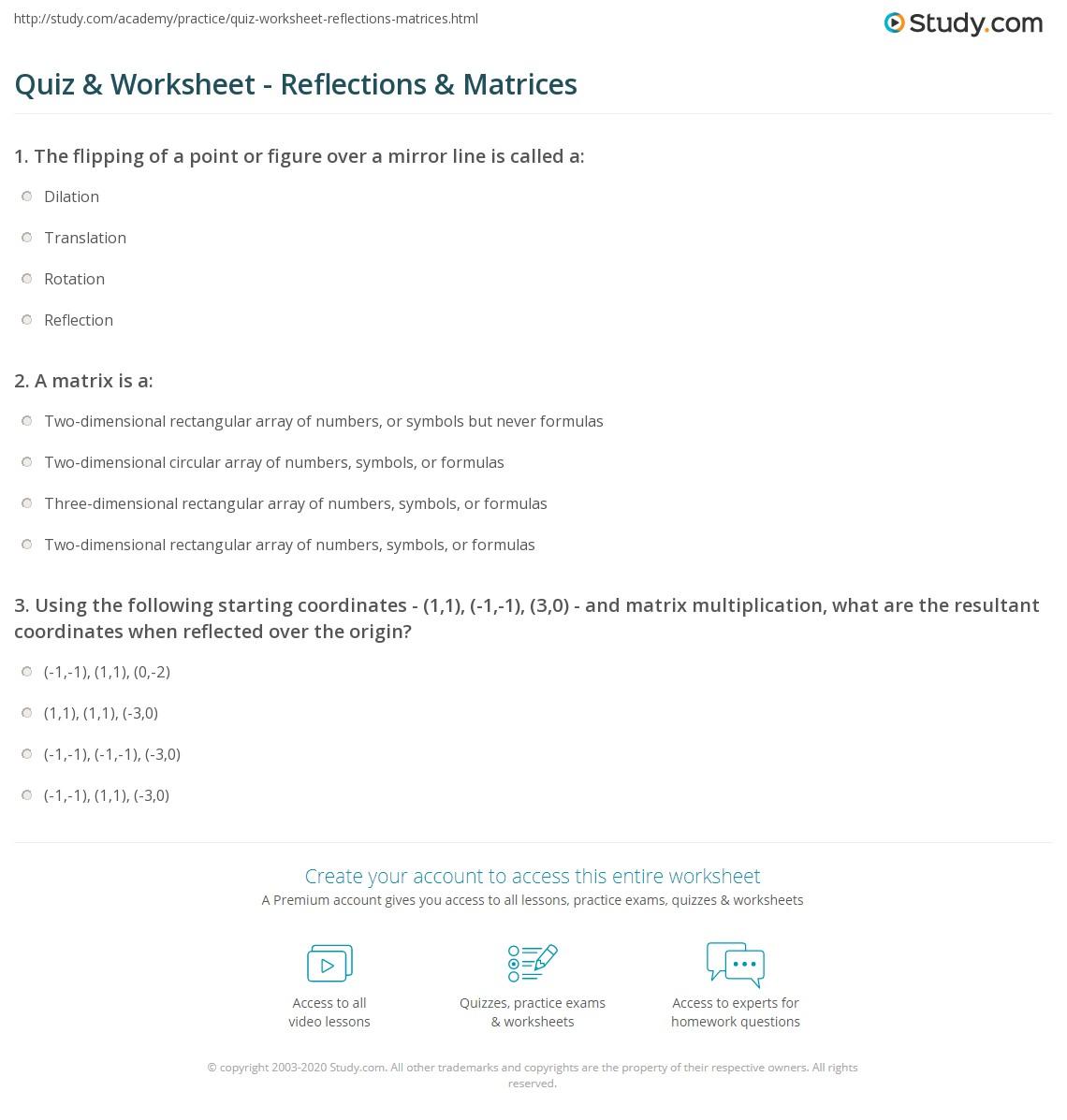 Worksheets Multiplying Matrices Worksheet quiz worksheet reflections matrices study com print using to complete worksheet