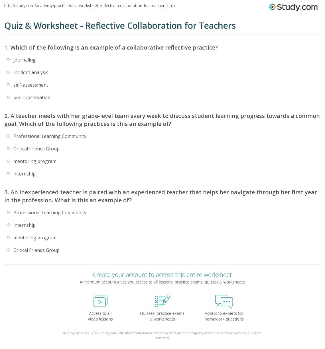 Quiz Worksheet Reflective Collaboration For Teachers Study