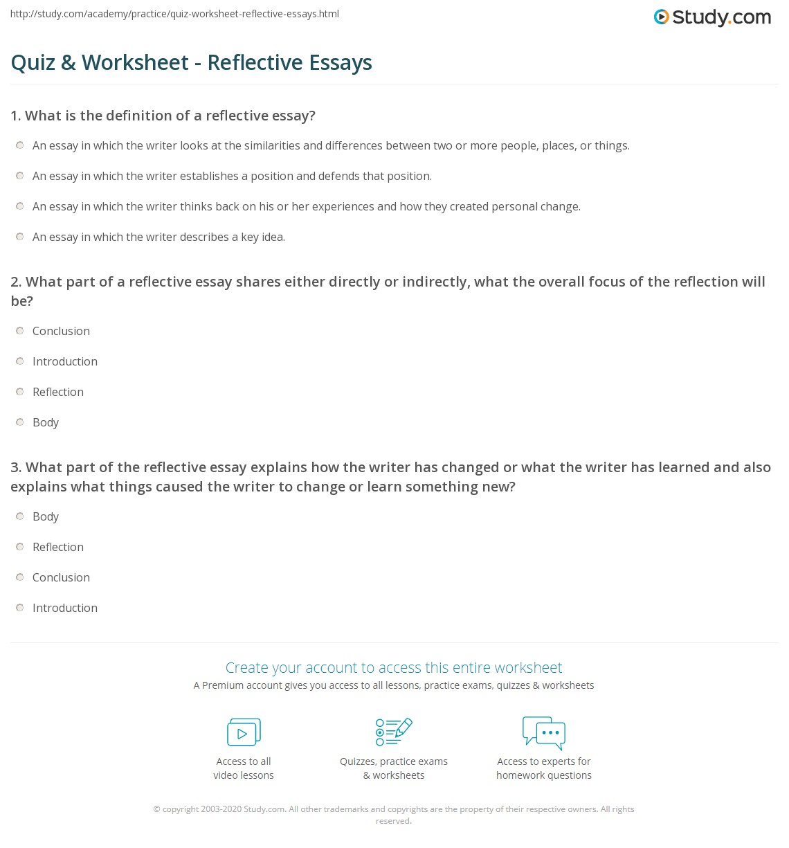 quiz worksheet reflective essays com what part of a reflective essay shares either directly or indirectly what the overall focus of the reflection will be conclusion introduction