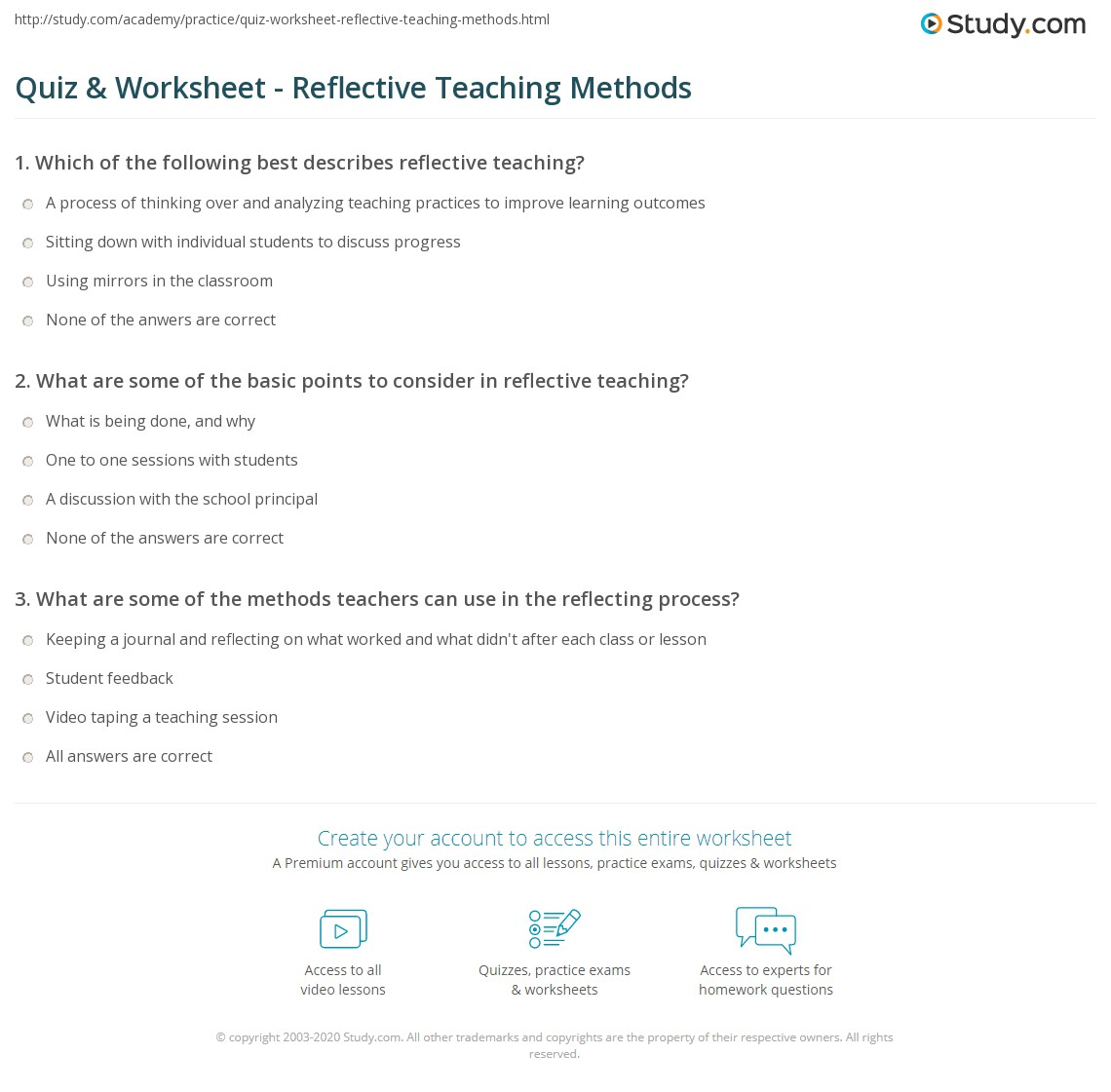 Quiz & Worksheet - Reflective Teaching Methods | Study com