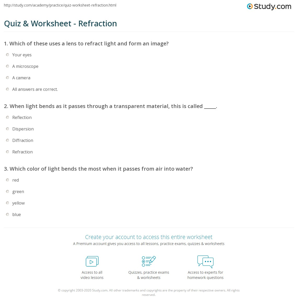 Quiz & Worksheet - Refraction | Study.com