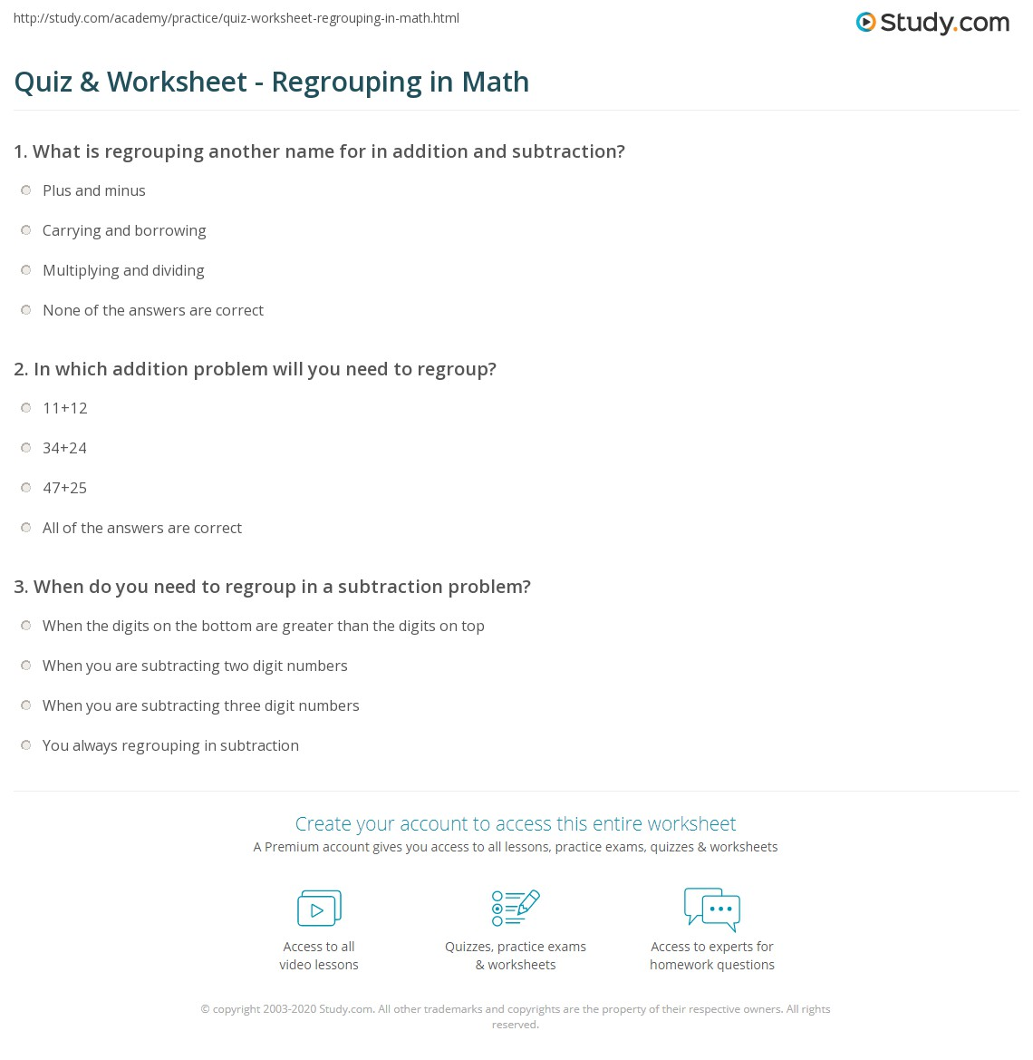 quiz & worksheet - regrouping in math | study