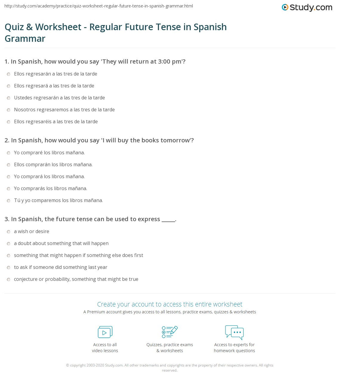 Quiz Worksheet Regular Future Tense In Spanish Grammar Study