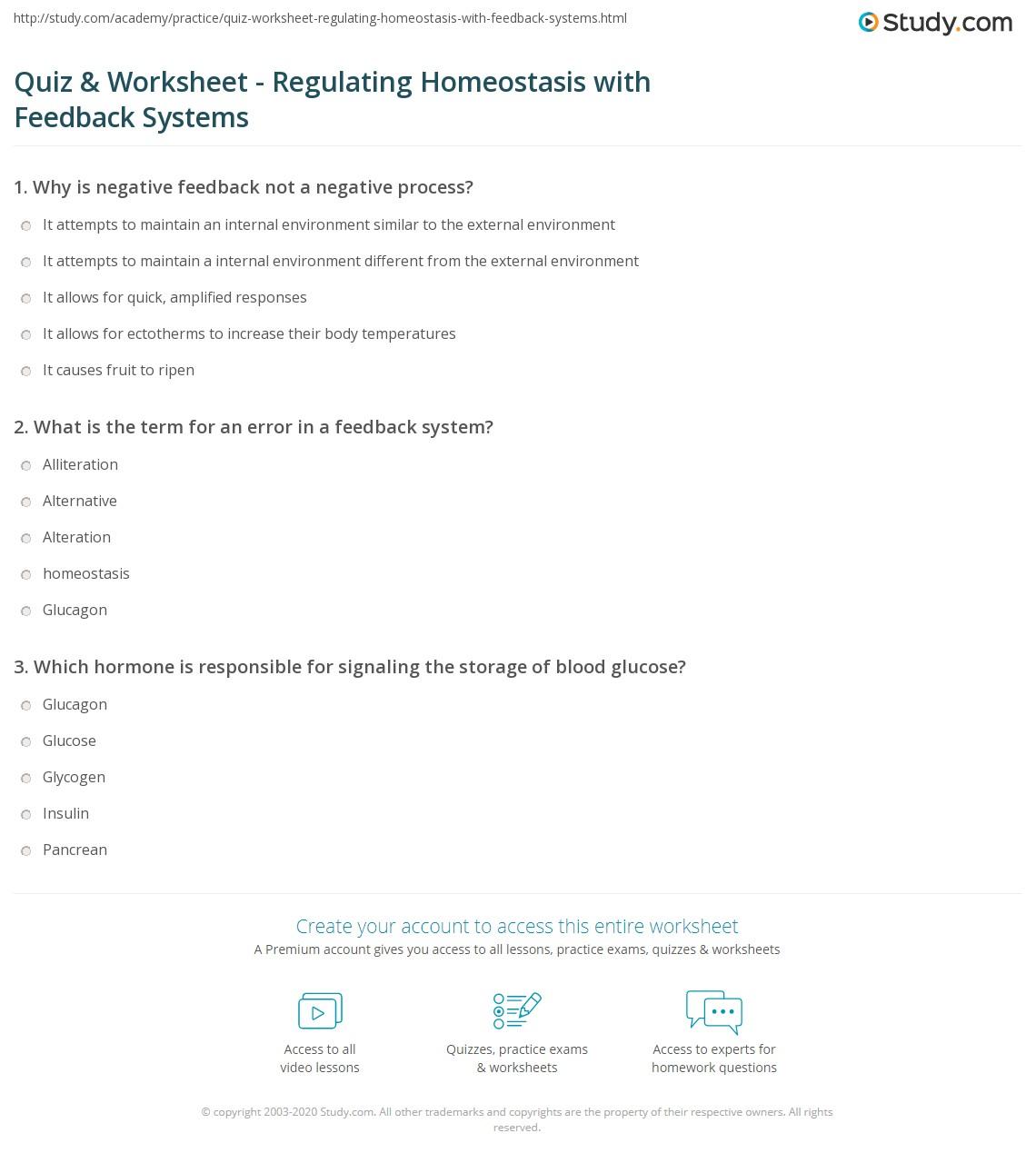 Quiz Worksheet Regulating Homeostasis With Feedback