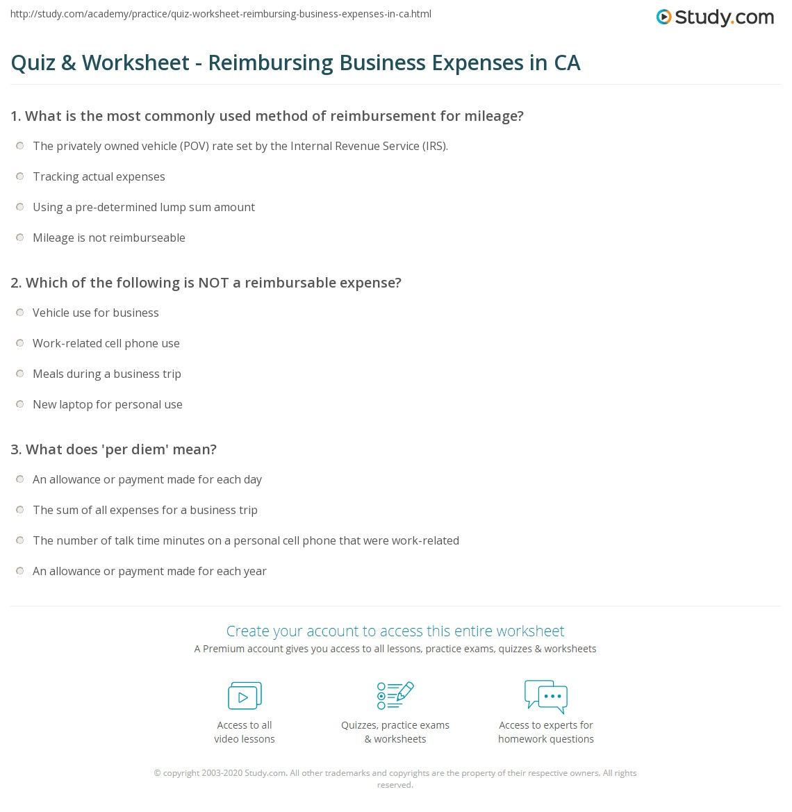 Quiz Worksheet Reimbursing Business Expenses In Ca Study