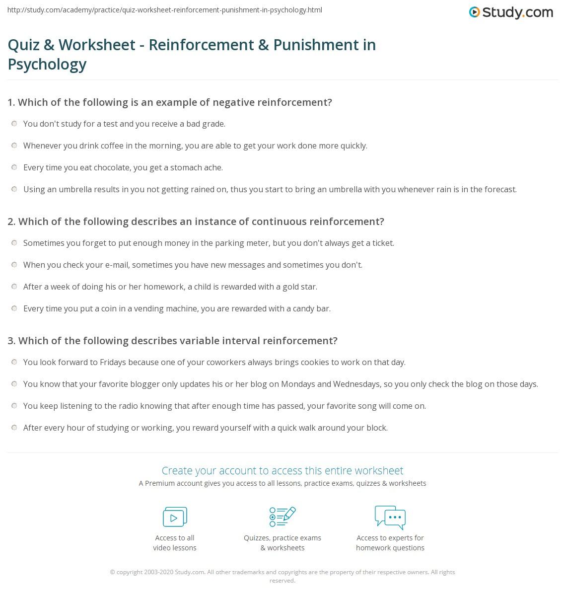 Quiz & Worksheet - Reinforcement & Punishment in Psychology ...
