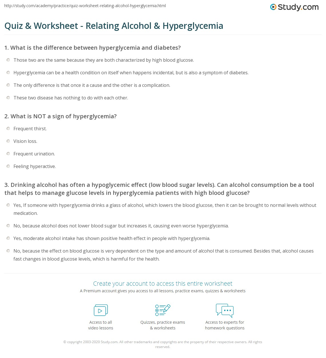 Quiz & Worksheet - Relating Alcohol & Hyperglycemia | Study com