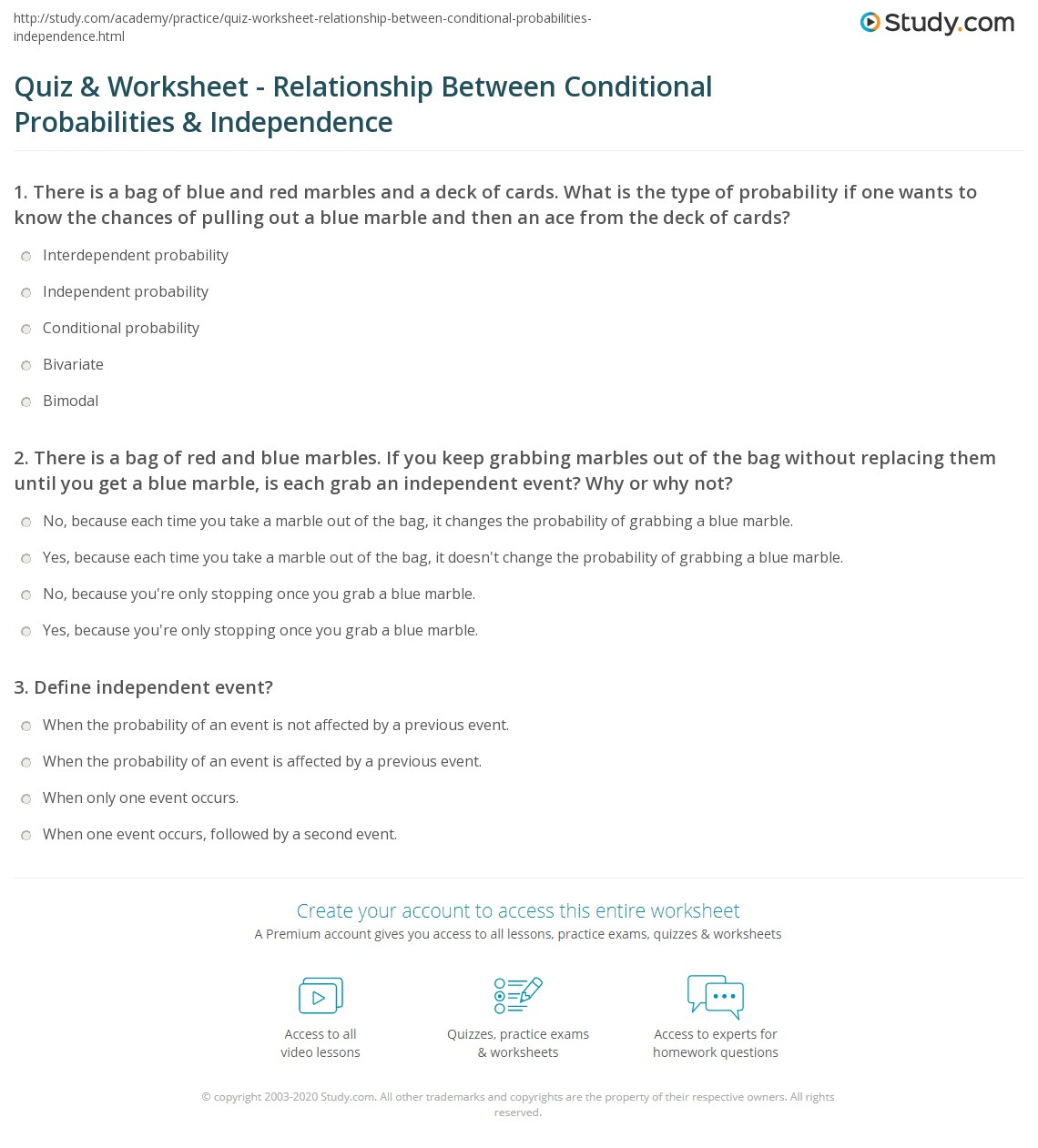 Quiz Worksheet Relationship Between Conditional Probabilities