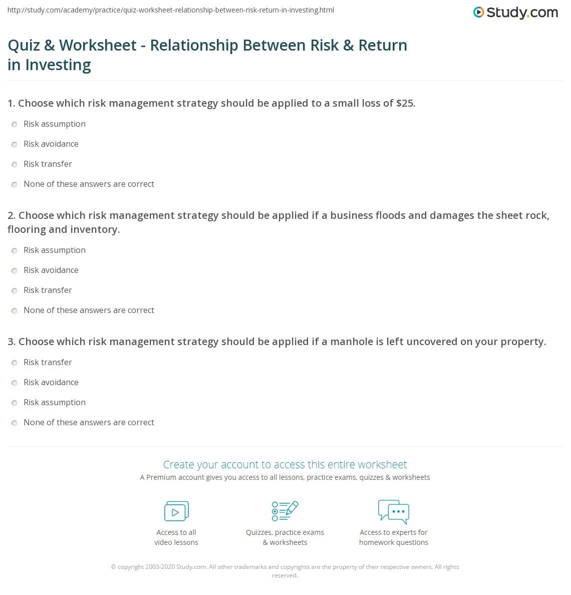 risk return relationship definition math