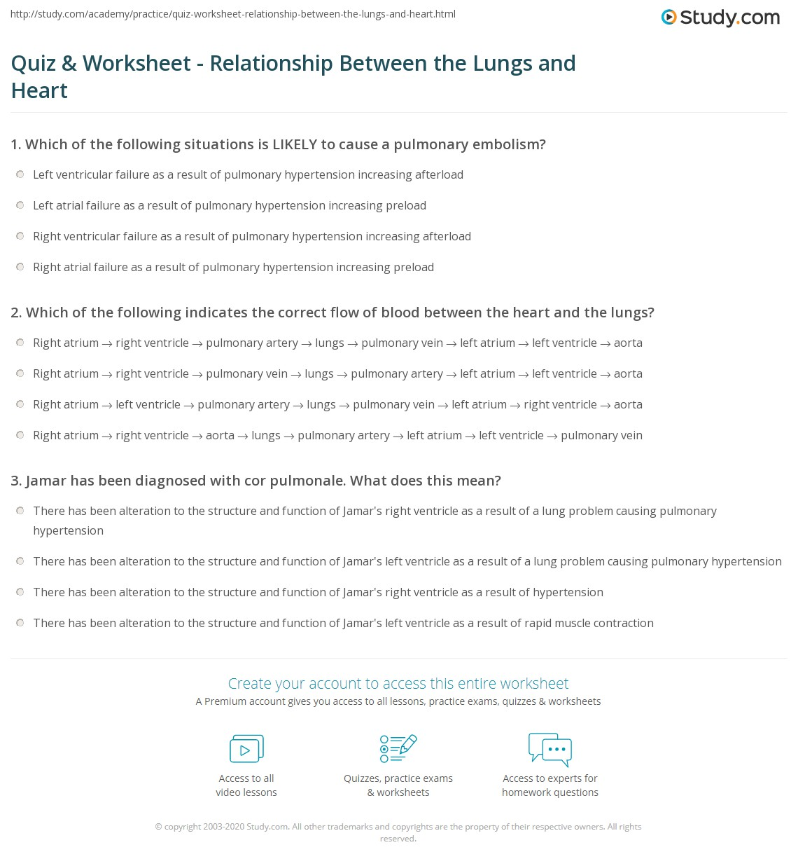quiz worksheet relationship between the lungs and heart. Black Bedroom Furniture Sets. Home Design Ideas