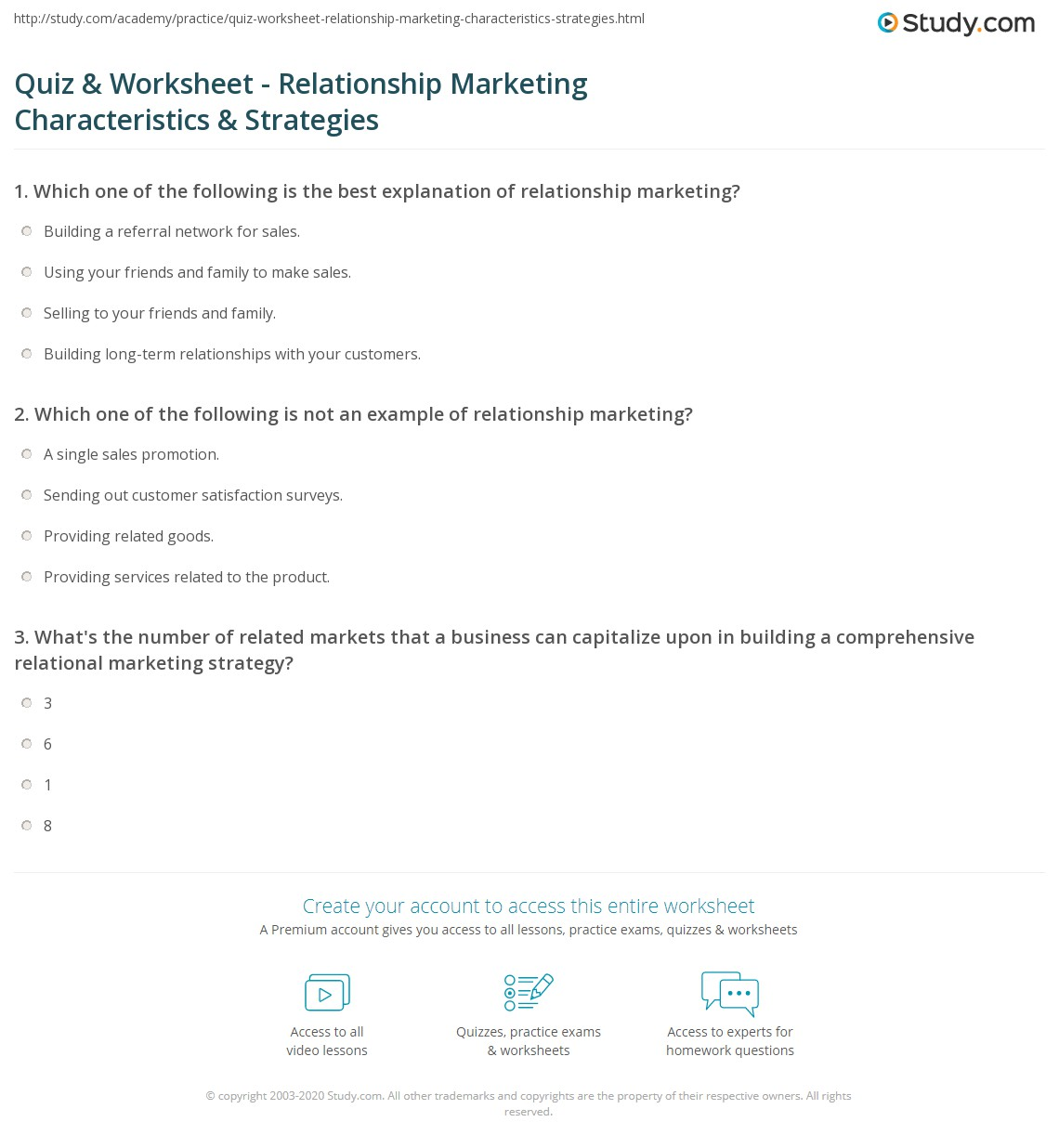 Quiz \u0026 Worksheet - Relationship Marketing Characteristics ...