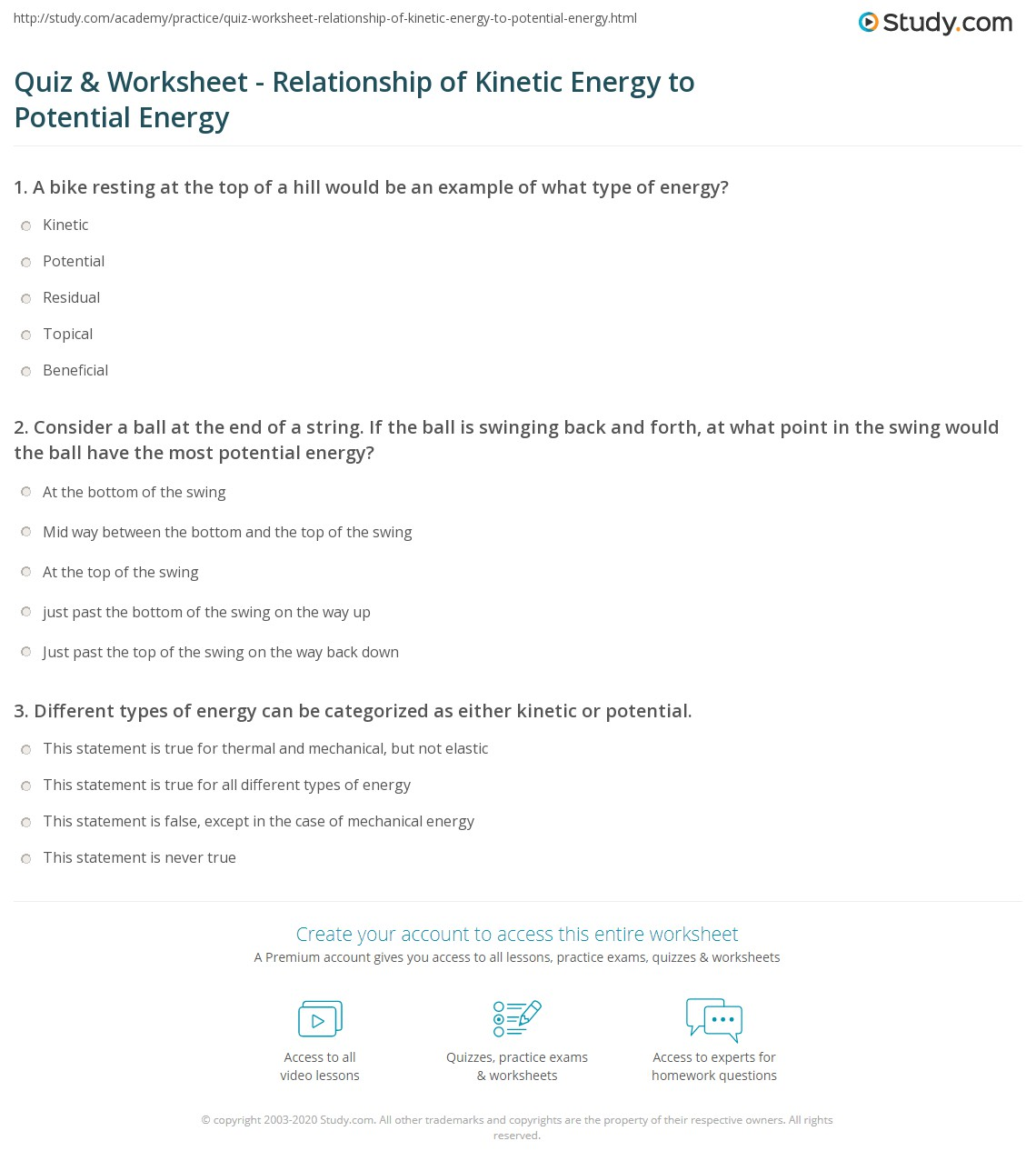 Quiz & Worksheet - Relationship of Kinetic Energy to Potential ...