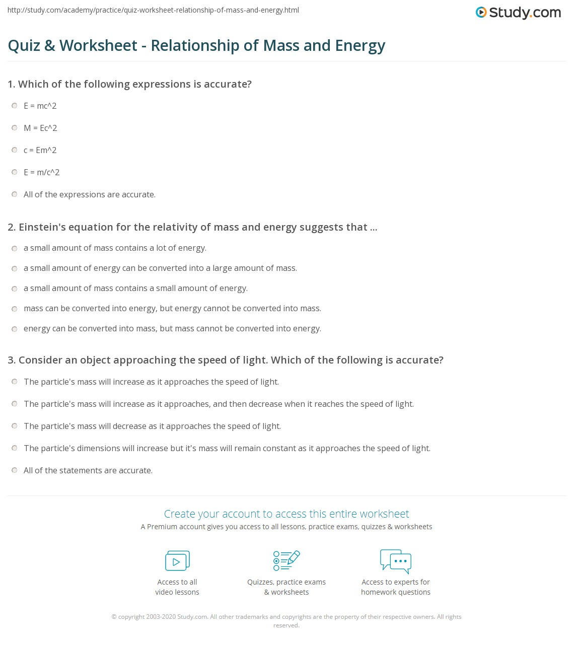 Quiz Worksheet Relationship Of Mass And Energy Study