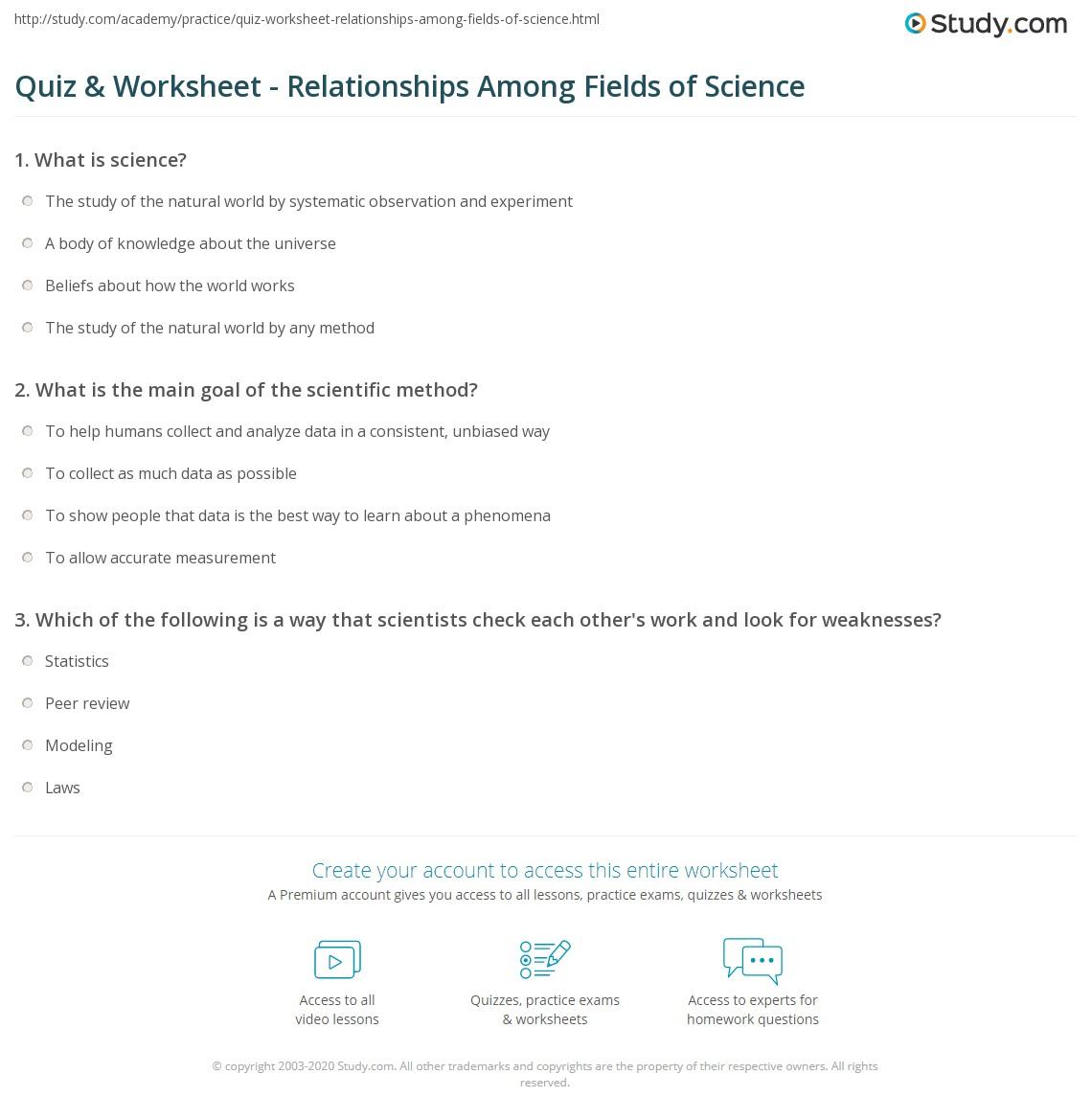 quiz worksheet relationships among fields of science. Black Bedroom Furniture Sets. Home Design Ideas