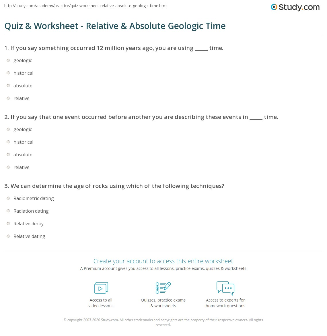 Quiz Worksheet Relative Absolute Geologic Time