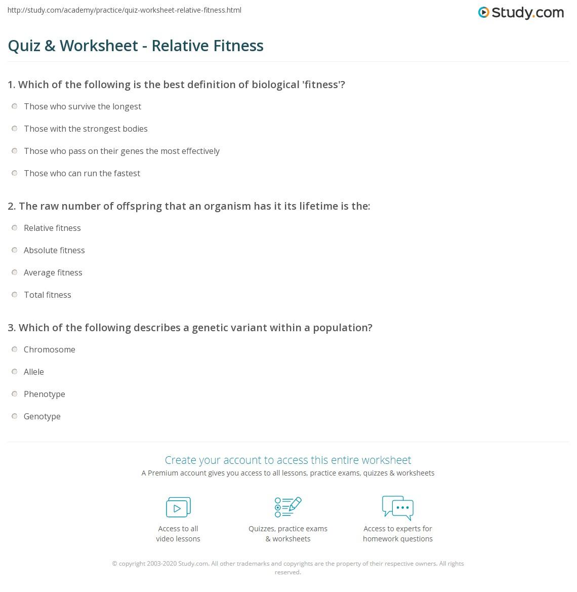 Quiz Worksheet Relative Fitness – Peppered Moth Worksheet