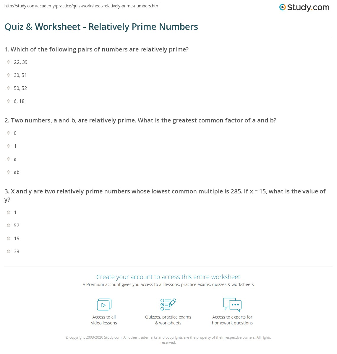 worksheet Prime Number Worksheet quiz worksheet relatively prime numbers study com print what are examples calculations worksheet