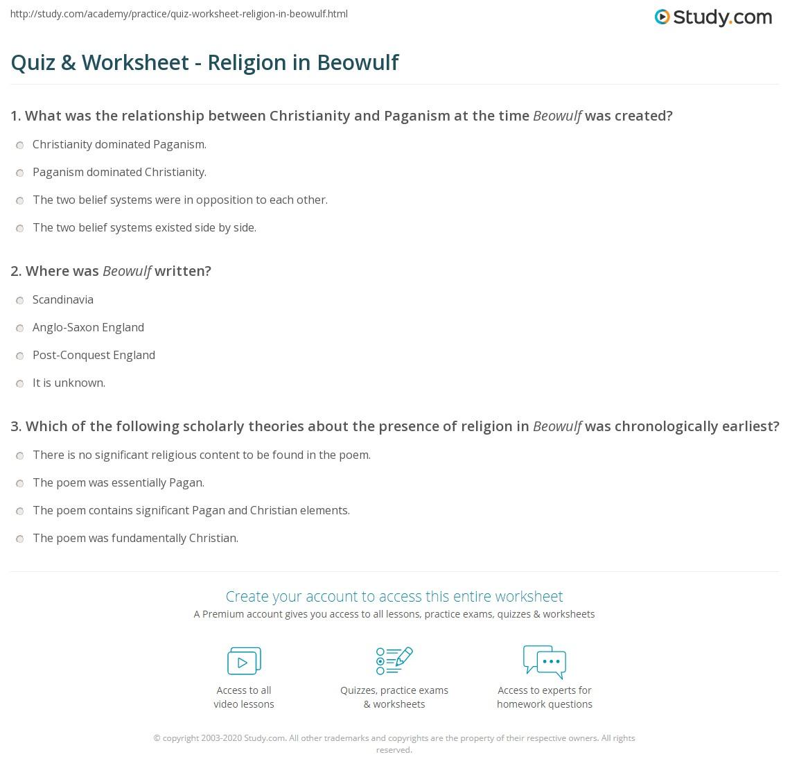Quiz & Worksheet - Religion in Beowulf  Study.com worksheets for teachers, multiplication, grade worksheets, printable worksheets, and worksheets Anglo Saxon Worksheets 2 1410 x 1140