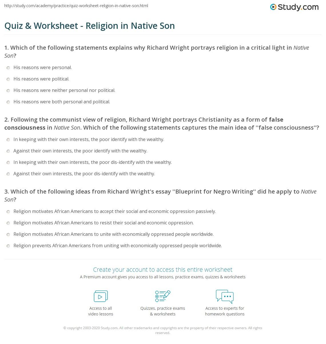 Quiz worksheet religion in native son study print religion in native son theme quotes worksheet malvernweather Gallery