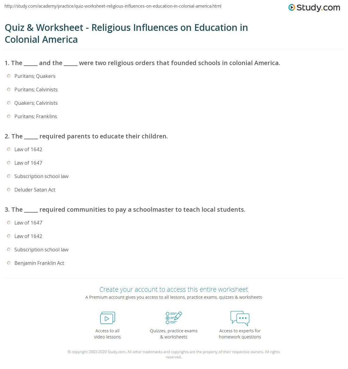 Colonial Times Worksheets – Tls Worksheets