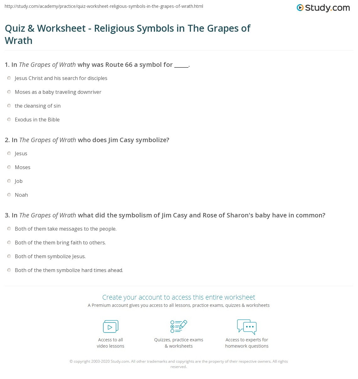 Quiz Worksheet Religious Symbols In The Grapes Of Wrath Study