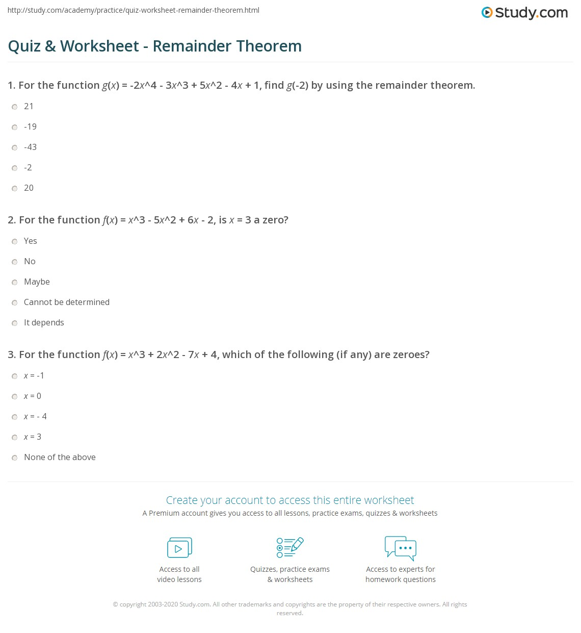 Remainder Theorem: Definition & Examples