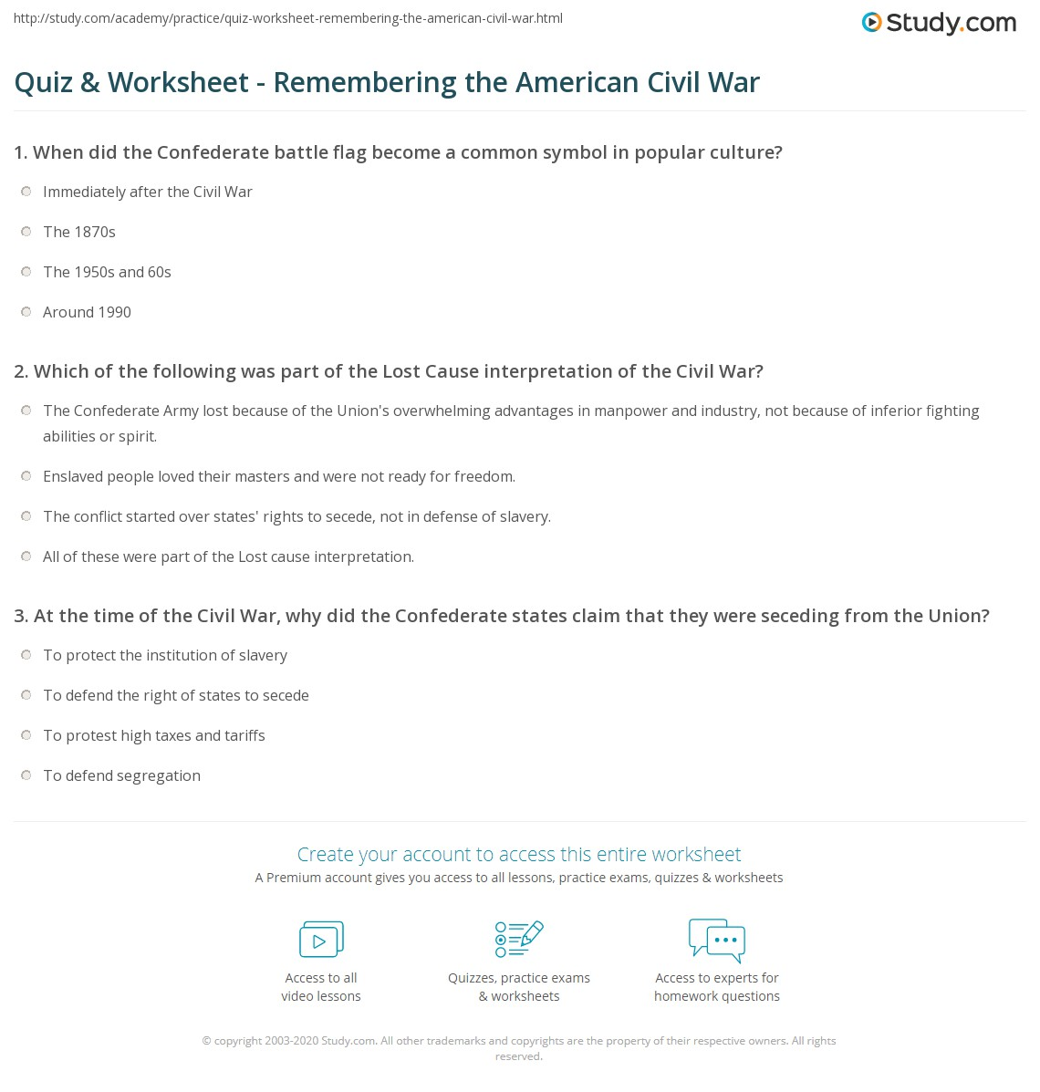 Quiz & Worksheet - Remembering the American Civil War | Study.com