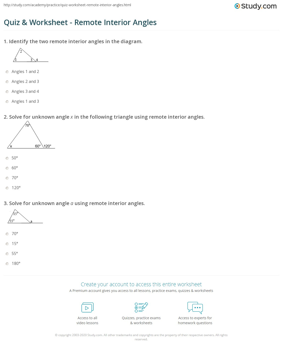 Quiz Worksheet Remote Interior Angles – Supplementary Angles Worksheet