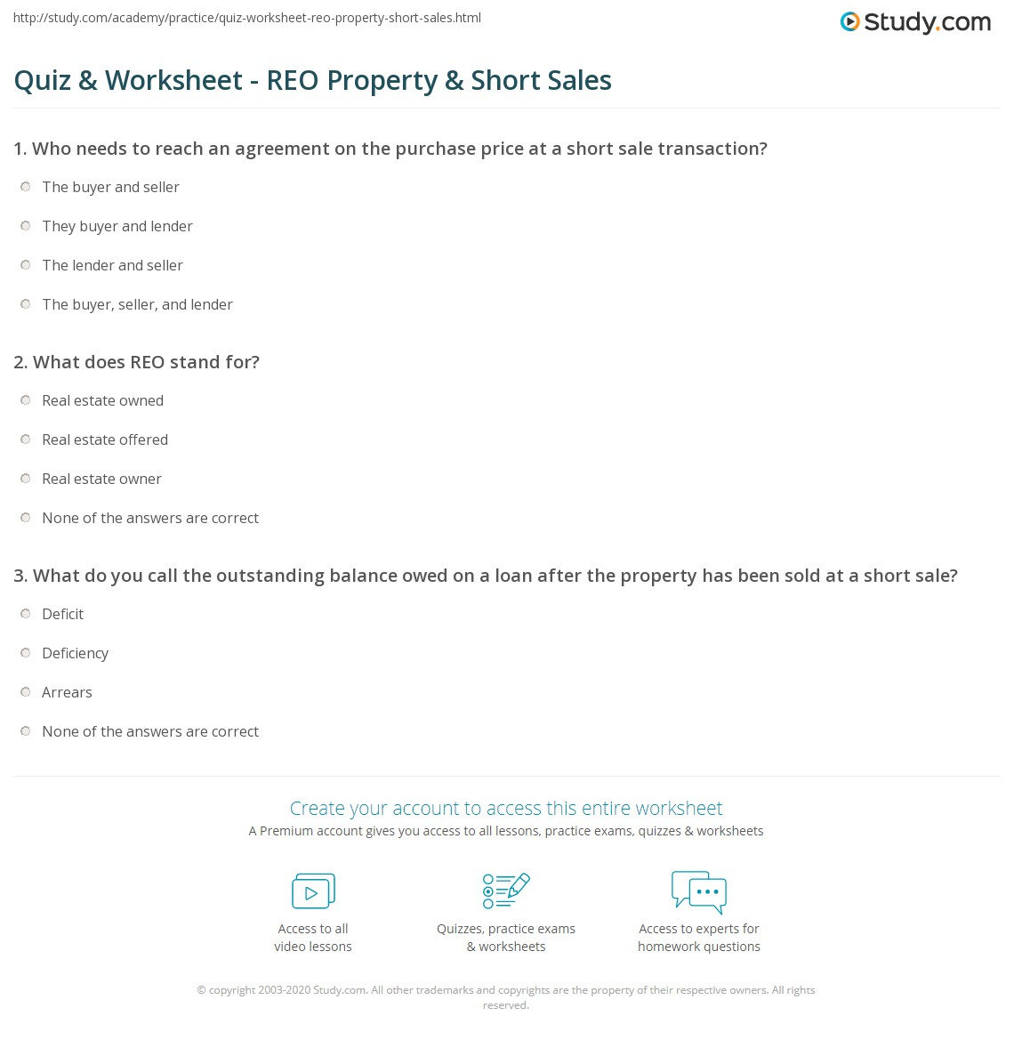 quiz & worksheet - reo property & short sales | study