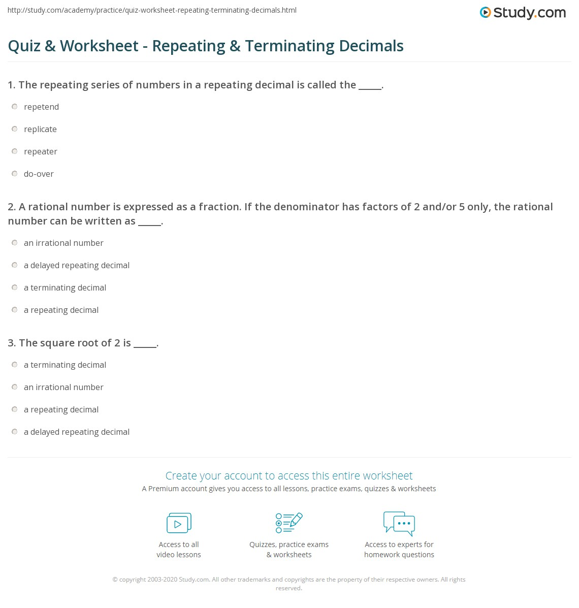 Terminating And Repeating Decimals Worksheet - Bluegreenish