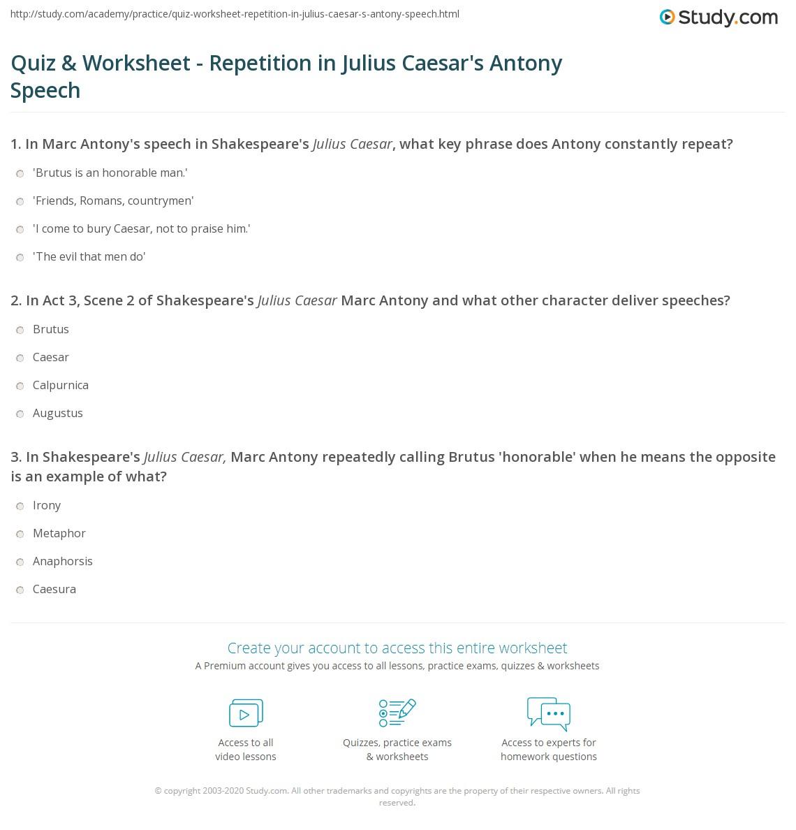Quiz & Worksheet - Repetition in Julius Caesar's Antony Speech ...