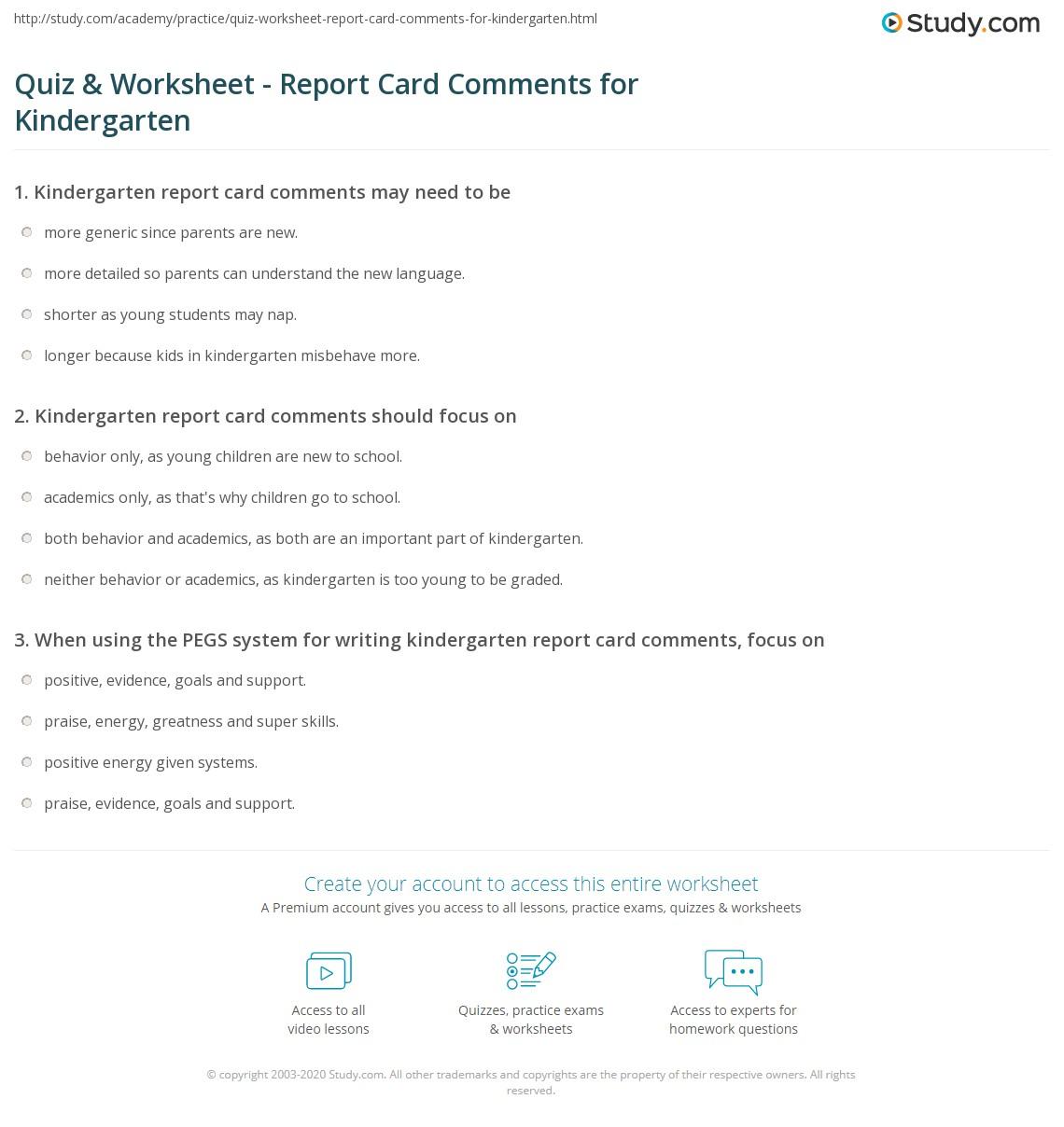 Worksheets Behavior Worksheets For Kids quiz worksheet report card comments for kindergarten study com print worksheet