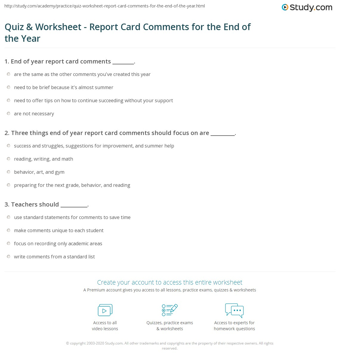 Quiz Worksheet Report Card Comments For The End Of The Year