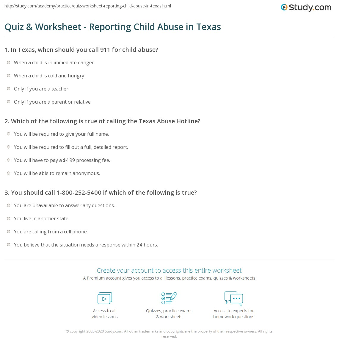 Quiz & Worksheet - Reporting Child Abuse in Texas | Study com