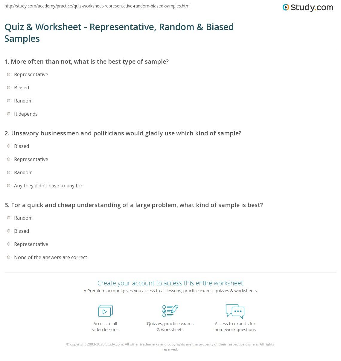 Quiz & Worksheet - Representative, Random & Biased Samples | Study.com
