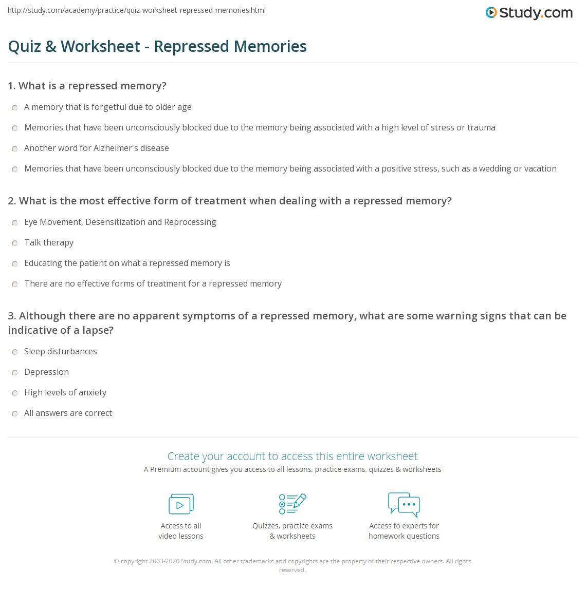quiz worksheet repressed memories. Black Bedroom Furniture Sets. Home Design Ideas
